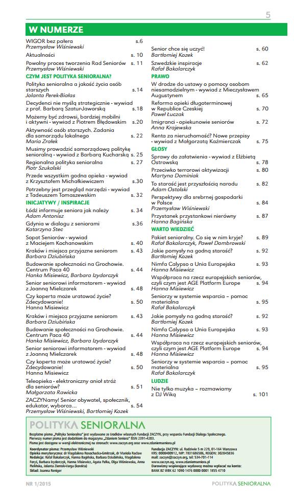 Polityka Senioralna-magazyn-numer-1-Fundacja-Zaczyn-spis-tresci